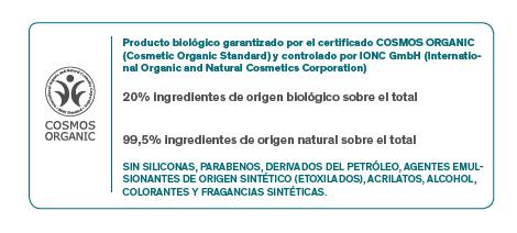 Producto biológico certificado por IONC Gmbh, de acuerdo con el estándar COSMOS